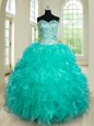 Admirable Turquoise Sleeveless Floor Length Beading and Ruffles Lace Up Sweet 16 Dress