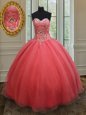 Pink Sleeveless Organza Lace Up Ball Gown Prom Dress for Military Ball and Sweet 16 and Quinceanera