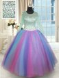 On Sale Multi-color Lace Up Scoop Beading Quince Ball Gowns Tulle Long Sleeves
