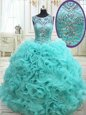 Sleeveless Floor Length Beading Lace Up Quinceanera Dress with Teal