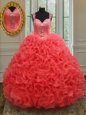Straps Floor Length Coral Red Ball Gown Prom Dress Organza Sleeveless Beading