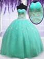 Best Selling Apple Green Organza Zipper Sweetheart Sleeveless Floor Length 15 Quinceanera Dress Beading and Appliques