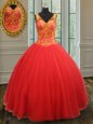Glorious Rust Red V-neck Neckline Beading and Appliques 15th Birthday Dress Sleeveless Zipper