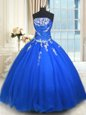 Blue Sleeveless Tulle Lace Up Sweet 16 Dress for Military Ball and Sweet 16 and Quinceanera