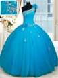 Custom Made Baby Blue Ball Gowns One Shoulder Sleeveless Tulle Floor Length Zipper Beading and Appliques and Hand Made Flower Quinceanera Dresses