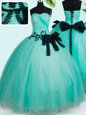 Flirting Sweetheart Sleeveless Quinceanera Gown Floor Length Beading and Bowknot Turquoise Tulle