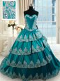Ruffled Teal Sleeveless Taffeta Lace Up Sweet 16 Dress for Military Ball and Sweet 16 and Quinceanera