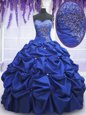 Royal Blue Sleeveless Floor Length Beading and Pick Ups Lace Up Quinceanera Dress