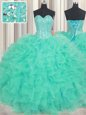 Pretty Floor Length Turquoise 15 Quinceanera Dress Organza Sleeveless Beading and Ruffles