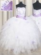 Noble Sleeveless Lace Up Floor Length Beading and Ruffles and Belt Quinceanera Gowns