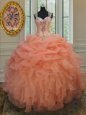 Orange Straps Neckline Beading and Ruffles and Pick Ups Quince Ball Gowns Sleeveless Zipper