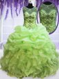 Sumptuous Pick Ups See Through Ball Gowns Quinceanera Dresses Scoop Organza Sleeveless Floor Length Lace Up