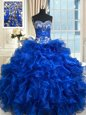 Ruffled Floor Length Ball Gowns Sleeveless Royal Blue 15 Quinceanera Dress Lace Up