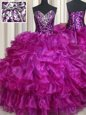 Graceful Sleeveless Organza Floor Length Lace Up Vestidos de Quinceanera in Purple for with Beading and Ruffles and Sequins