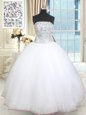 Floor Length White Quince Ball Gowns Tulle Sleeveless Beading and Sequins