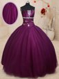 Luxurious Dark Purple Sleeveless Floor Length Beading Lace Up Quinceanera Dresses
