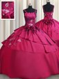 Straps Embroidery and Hand Made Flower Quinceanera Dress Burgundy Lace Up Sleeveless Floor Length