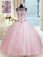 Exquisite Scoop Tulle Sleeveless Floor Length Quinceanera Dress and Beading