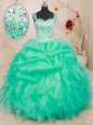 Straps Turquoise Lace Up Sweet 16 Dresses Beading and Ruffles and Pick Ups Sleeveless Floor Length