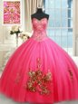 Trendy Floor Length Hot Pink Sweet 16 Dress Tulle Sleeveless Beading and Appliques
