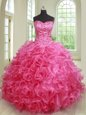 Admirable Hot Pink Ball Gowns Tulle Strapless Sleeveless Beading Floor Length Lace Up Quince Ball Gowns