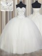 Designer Floor Length Ball Gowns Sleeveless White Ball Gown Prom Dress Lace Up