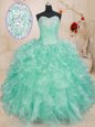 Apple Green Organza Lace Up Sweetheart Sleeveless Floor Length Sweet 16 Dresses Beading and Ruffles