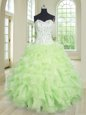 Apple Green Ball Gown Prom Dress Military Ball and Sweet 16 and Quinceanera and For with Beading and Ruffles and Pick Ups Sweetheart Sleeveless Lace Up