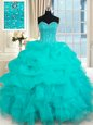 Discount Brush Train Ball Gowns Quinceanera Gown Aqua Blue Sweetheart Organza Sleeveless With Train Lace Up