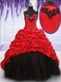 Free and Easy Red And Black Sleeveless Brush Train Appliques and Pick Ups With Train Quinceanera Gown