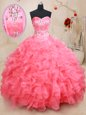 Pink Sleeveless Organza Lace Up Vestidos de Quinceanera for Military Ball and Sweet 16 and Quinceanera