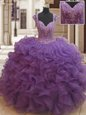 Straps Floor Length Eggplant Purple Quince Ball Gowns Organza Cap Sleeves Beading and Ruffles