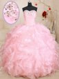 Gorgeous Red Ball Gowns Sweetheart Sleeveless Tulle Floor Length Lace Up Beading Vestidos de Quinceanera