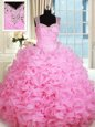 Straps Sleeveless 15th Birthday Dress Floor Length Beading and Ruffles Rose Pink Organza