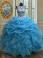 Scoop See Through Baby Blue Sleeveless Beading and Ruffles and Pick Ups Floor Length Quinceanera Gowns