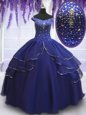Delicate Sequins Ball Gowns Quinceanera Gowns Champagne V-neck Organza Cap Sleeves Floor Length Zipper