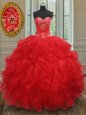 Sleeveless Organza Floor Length Lace Up Sweet 16 Dress in Red for with Beading and Ruffles