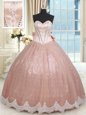 Ball Gowns Sweet 16 Quinceanera Dress Peach Sweetheart Tulle Sleeveless Floor Length Lace Up