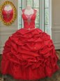 Custom Made Straps Taffeta Cap Sleeves Floor Length Quinceanera Dress and Beading and Pick Ups
