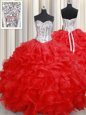 Smart Red Lace Up Sweetheart Beading and Ruffles Quince Ball Gowns Organza Sleeveless
