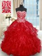 Sleeveless Organza Brush Train Lace Up Sweet 16 Quinceanera Dress in Red for with Beading and Embroidery and Ruffled Layers
