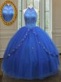 See Through Ball Gowns Sweet 16 Quinceanera Dress Royal Blue High-neck Tulle Sleeveless Floor Length Lace Up