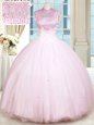 Baby Pink Ball Gowns Beading Sweet 16 Dress Lace Up Satin and Tulle Sleeveless Floor Length