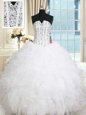 White Lace Up Sweet 16 Dresses Beading and Ruffles Sleeveless Floor Length