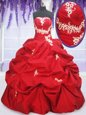 Fashion Red Sleeveless Appliques and Pick Ups Floor Length Sweet 16 Dress
