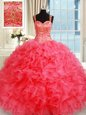 Coral Red Straps Lace Up Beading and Ruffles Sweet 16 Quinceanera Dress Sleeveless