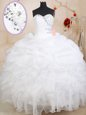 Stylish White Sweetheart Neckline Beading and Ruffles and Pick Ups Quinceanera Dress Sleeveless Zipper
