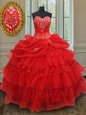 Sequins Pick Ups Ruffled Red Sleeveless Organza Lace Up Quinceanera Gowns for Military Ball and Sweet 16 and Quinceanera
