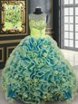 Stylish Champagne Lace Up Sweetheart Beading 15 Quinceanera Dress Fabric With Rolling Flowers Sleeveless Brush Train