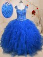 Straps Blue Cap Sleeves Floor Length Beading and Ruffles Lace Up Ball Gown Prom Dress